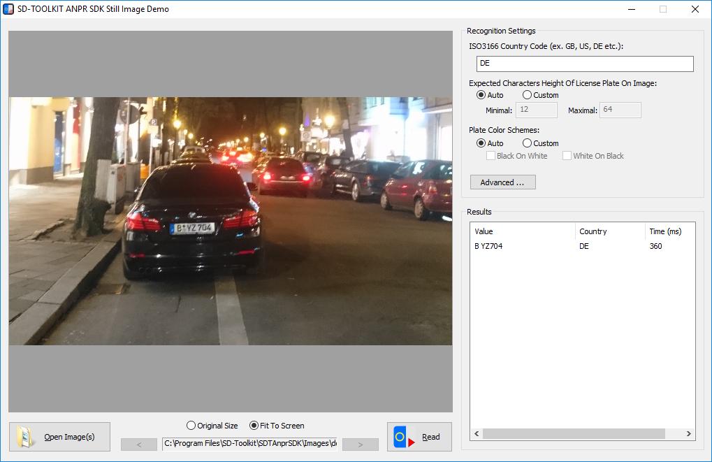 Royalty Free ANPR SDK for Windows Screenshot