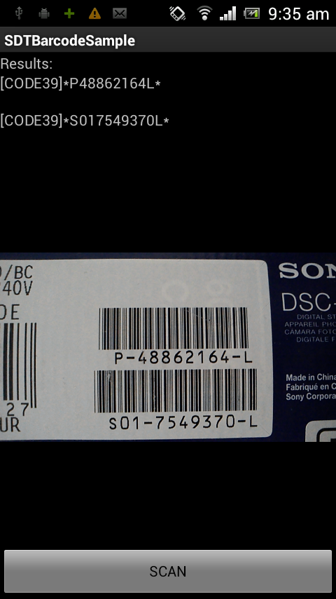SD-TOOLKIT Barcode Reader SDK for Android Screenshot