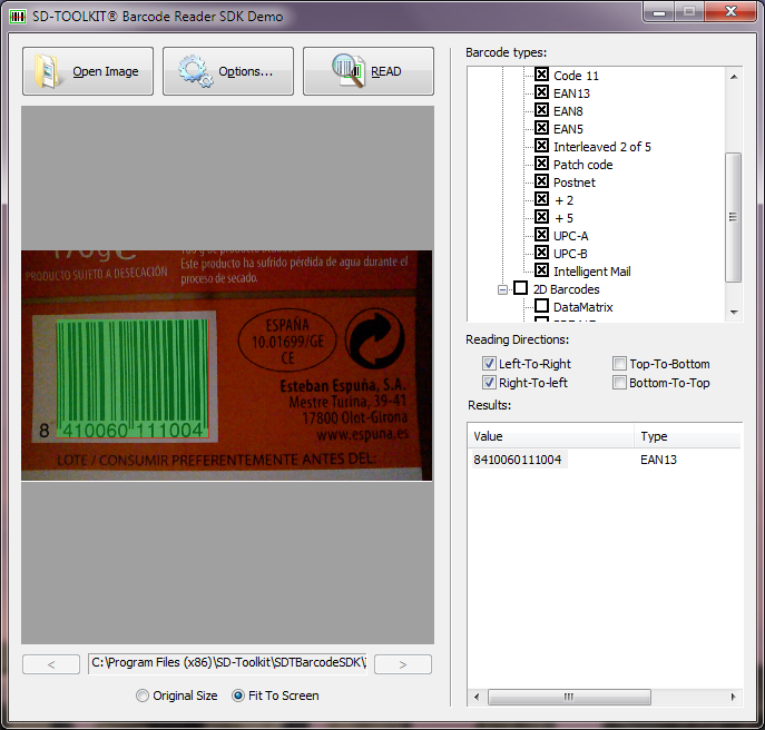 SD-TOOLKIT Barcode Reader SDK for Windows Screen shot